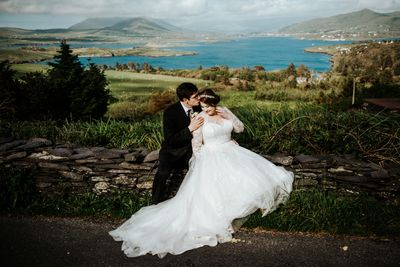 Bride and groom eloping in county Kerry in Ireland