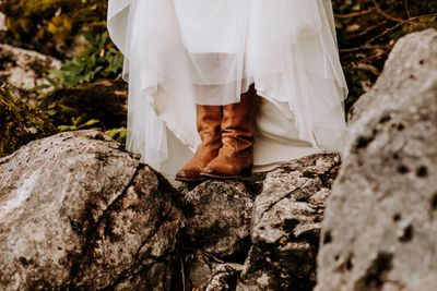 Bride wearing tan leather boots at her wedding in Germany