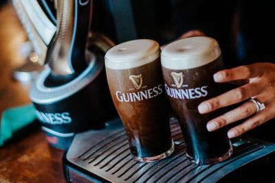 Two pints for Guinness for bride and groom