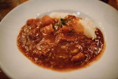 Irish beef stew served at a destination wedding in an Irish pub