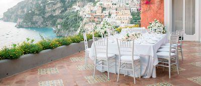 Location for an intimate outdoor wedding reception on Amalfi Coast
