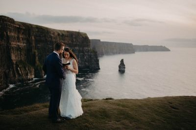Wedding ceremony on the Cliffs of Moher in Ireland