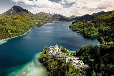 Aerial view of lakeside wedding venue near Salzburg in Austria