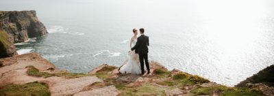 Bride and Groom on the Cliffs of Moher