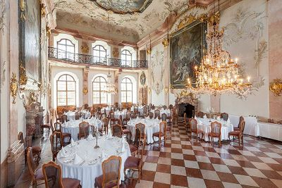 Opulent function room in a castle wedding venue in Austria