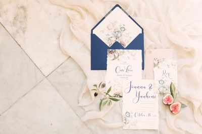 Watercolour invitation suite for a small wedding in a French chateau
