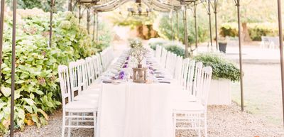Intimate outdoor wedding reception in France