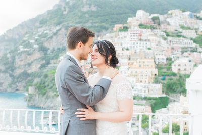 Couple who got married in Positano with a wedding package by Peach Perfect Weddings